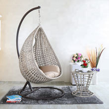 Durable outdoor rattan furniture wicker single swing hanging chair