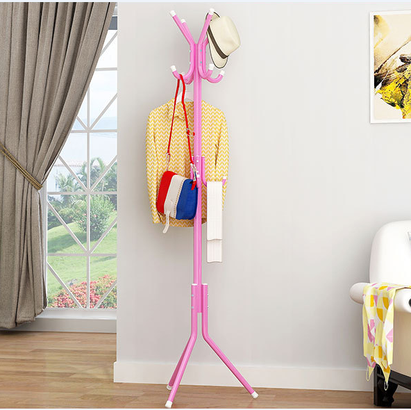 portable modern standing tree shaped coat rack with shelves for hotel bedroom bathroom in pink color