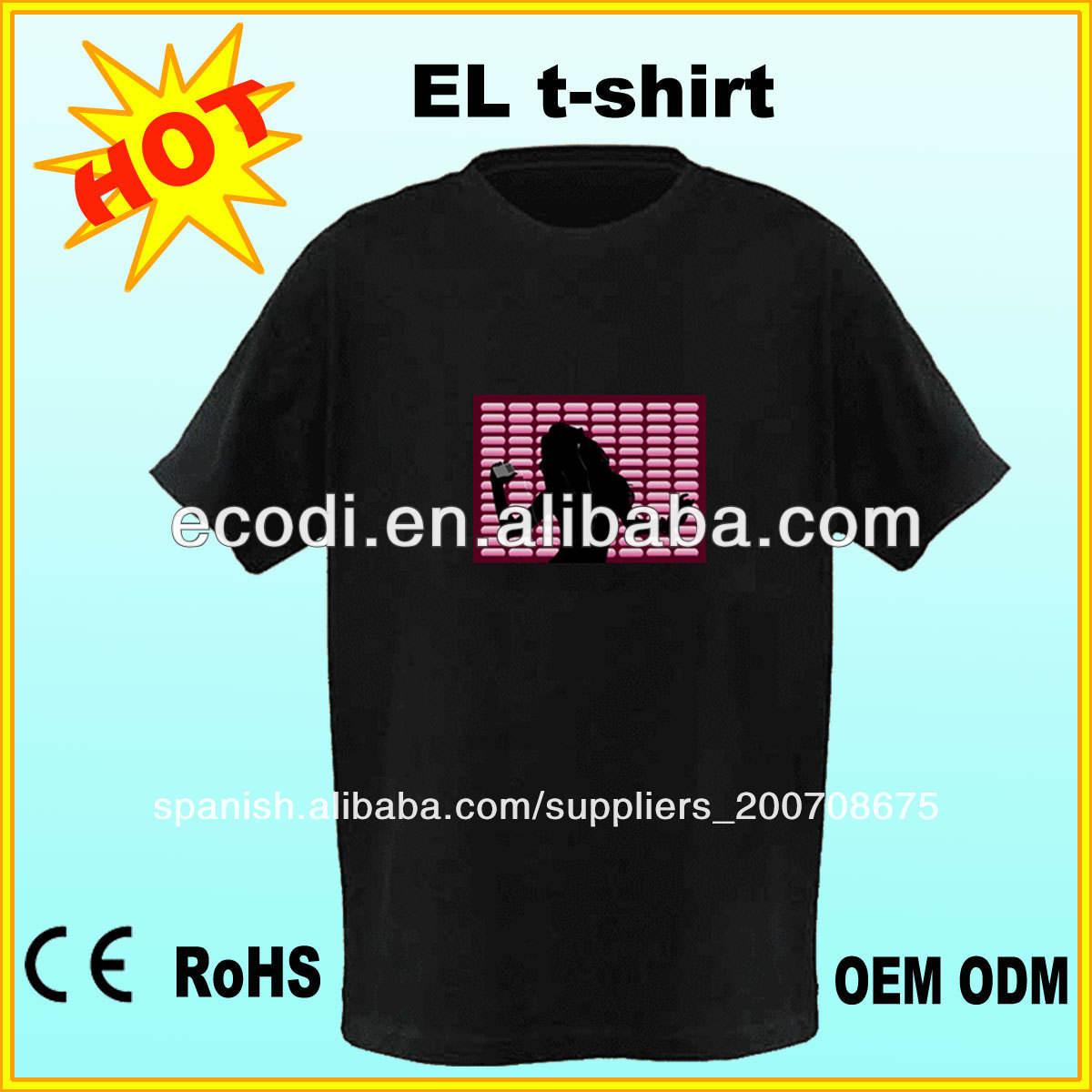 alto brillo De la moda!! 5% off!! <span class=keywords><strong>Ecualizador</strong></span> <span class=keywords><strong>camiseta</strong></span> de la luz, flash <span class=keywords><strong>camiseta</strong></span> del el, el flash de la camisa