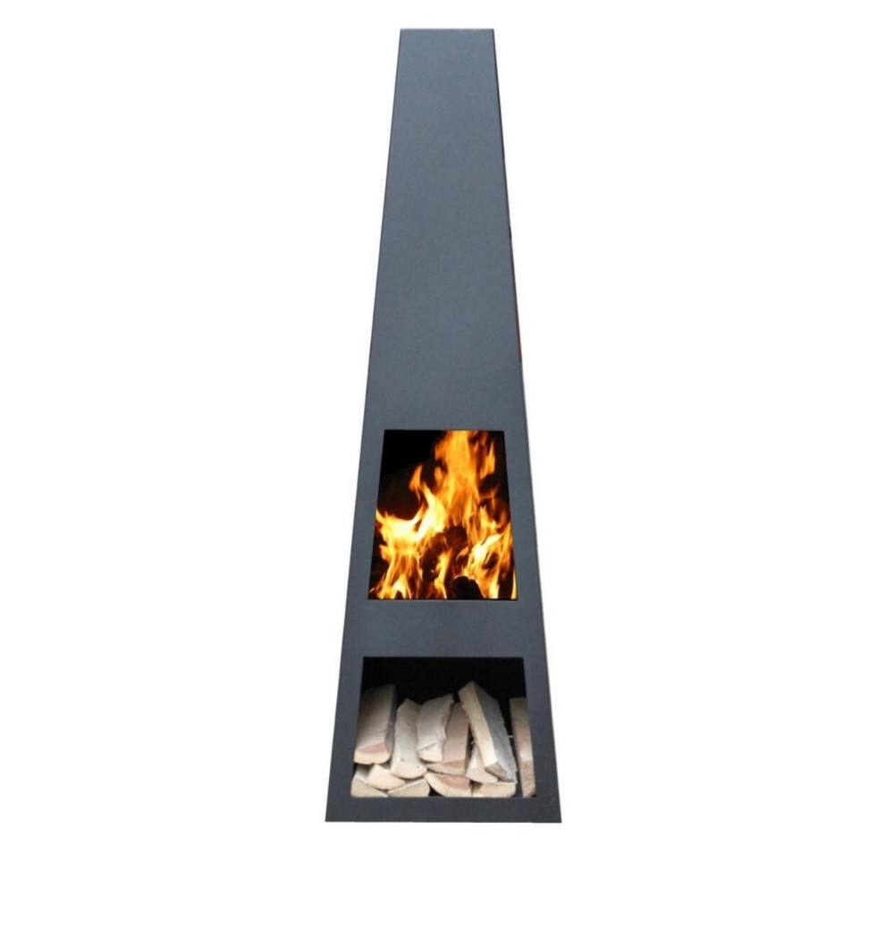 Metal Black Charcoal Garden Steel Chimenea Outdoor Heating Fire Pit Chimenea with Storage for Wood