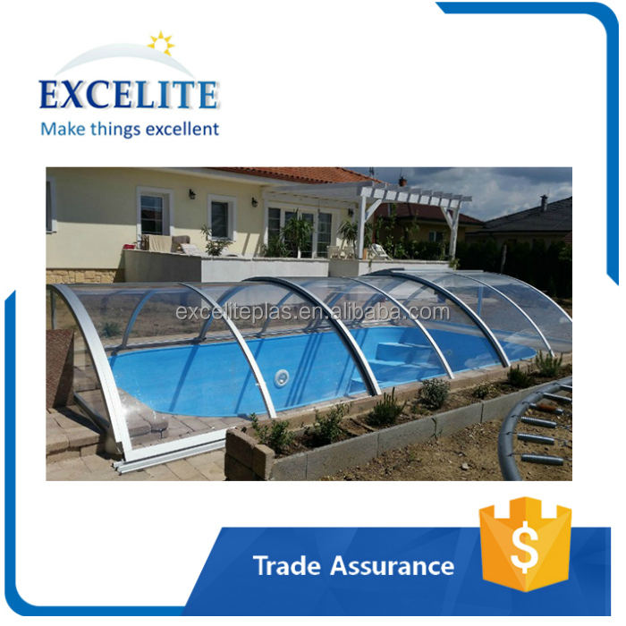 Hot sell swimming pool retractable cover enclosures
