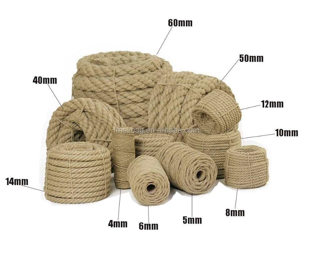 Natural Raw Jute hemp Rope 8mm wholesale