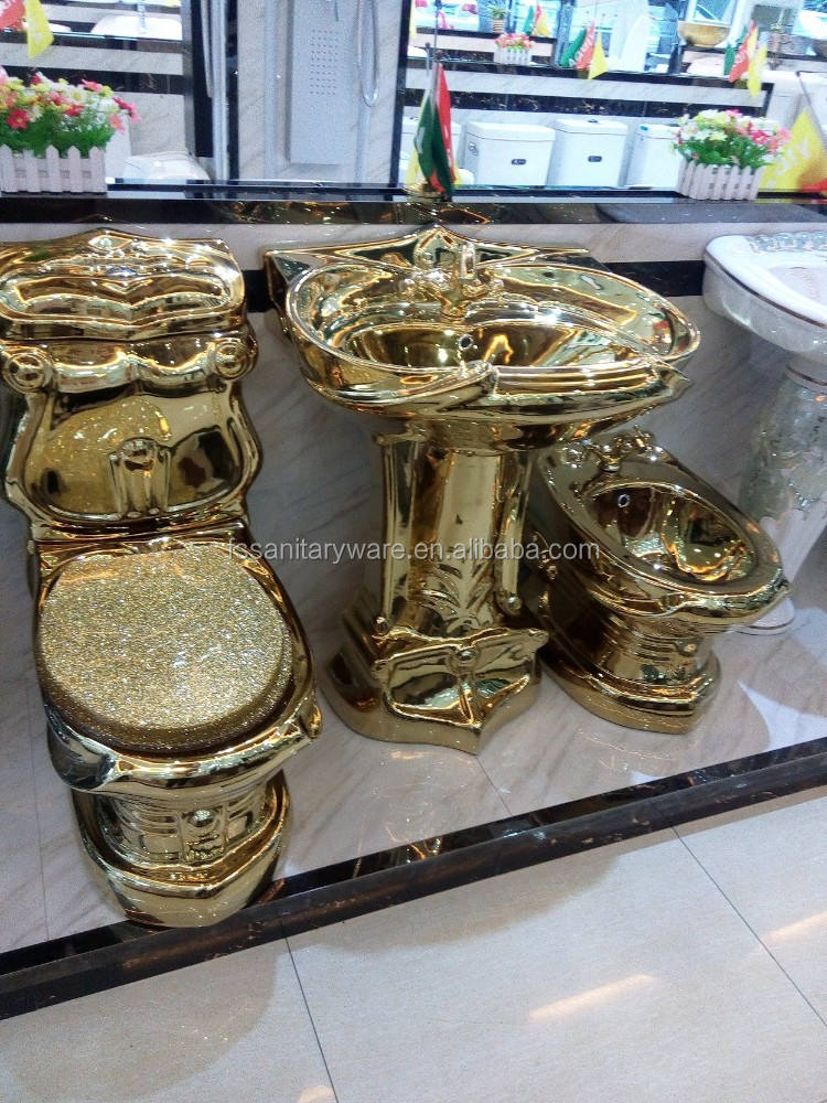 Gold sanitary ware product, luxury gold toilet set, bathroom basin bidet toilet suit
