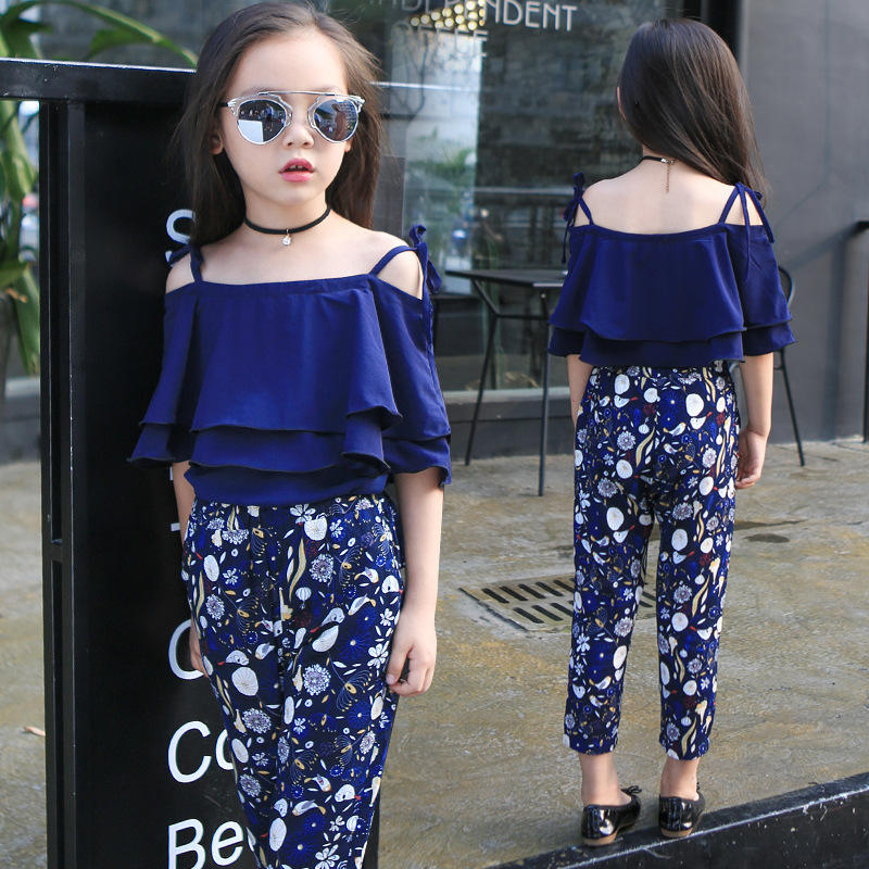 Girls Set Clothes Kids Fashion Top Pant Two Piece Children Summer Suit Girls Boutique Outfits 4 - 13 Years