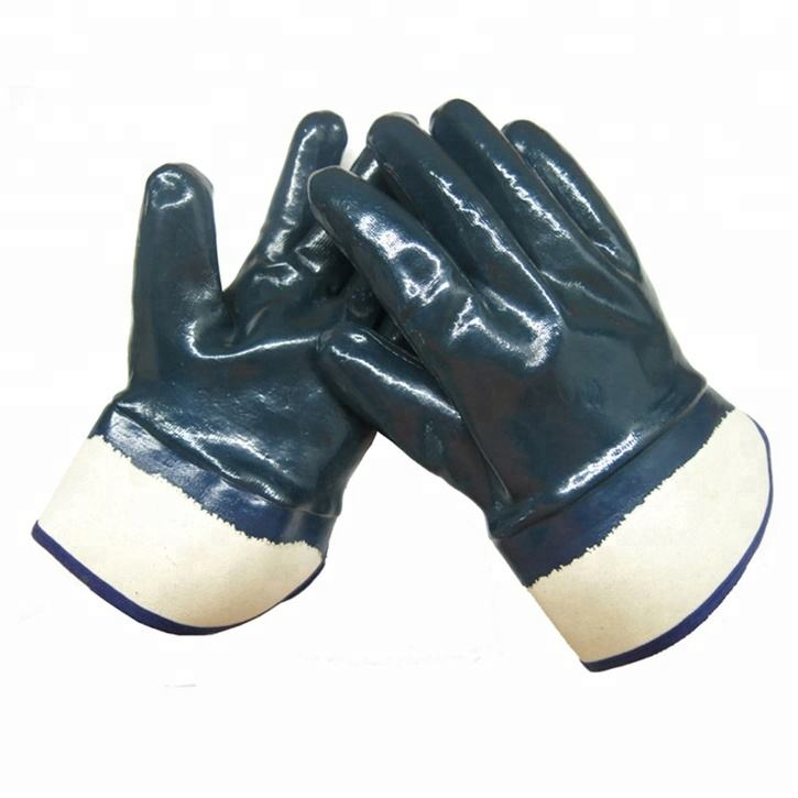 Hot Selling Blue Nitrile Fully Dipped Working Safety Glove For Cold District CE 4112X