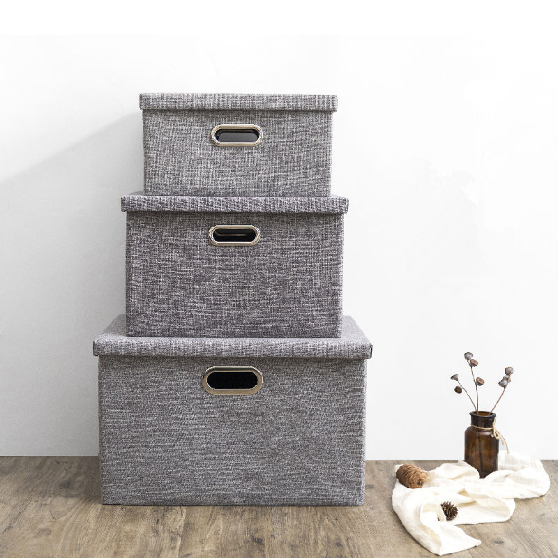 Wholesale fabric cardboard collapsible clothes nonwoven foldable linen storage box bins cube with lids/grommet handle