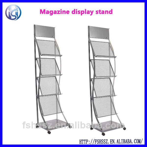 Revista de metal carrinho de exposição, rack brochura, suporte do folheto de suporte de chão