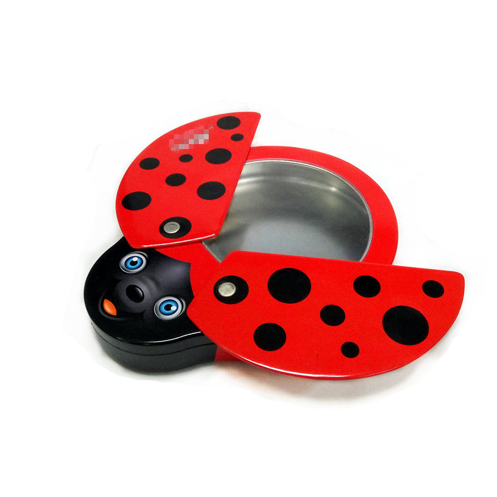 Ladybug and bee shape food grade candy metal tin box with rotary outer lid and window inner lid