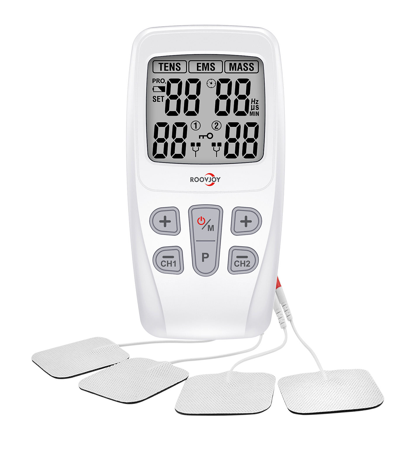 ROOVJOY Tens Unit+ EMS Muscle Stimulator+ Pulse Massager 3 IN 1 Tens machine