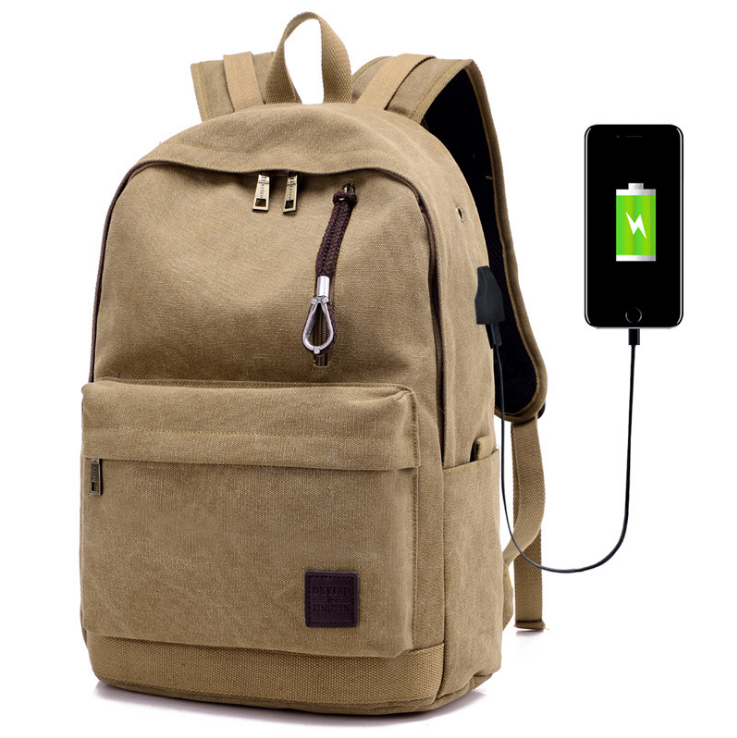 Wisdom Hill High quality backpack daily canvas rucksack with USB charge port