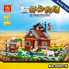 Educational toys Wange 34201N-34204N happy farm building blocks bricks for kids