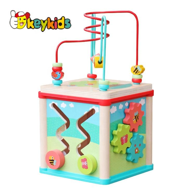2019 Top sale 5 in 1 children wooden activity cube for wholesale W11B133