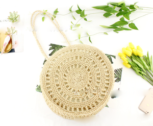 2018 Fashion Mini Paper 짚 Grass 모노크롬 Crochet 백 Round Lady Tote Bag