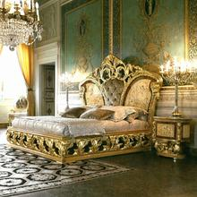 Royal baroque style solid wood expensive high gloss italian names bedroom furniture