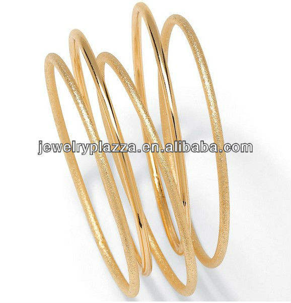 Goldtone Costume Stackable Tailored Bangle Bracelets (Set of 5),2013 Fashion Gold Jewelry