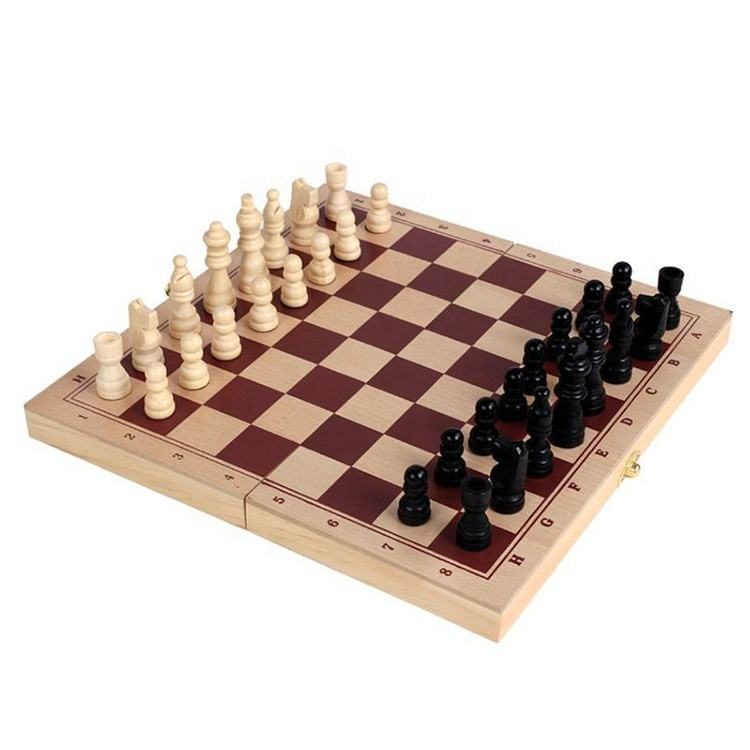 cheap Folding Wooden International Chess Pieces Set Board Game Chessmen Collection Portable Board wooden chess game