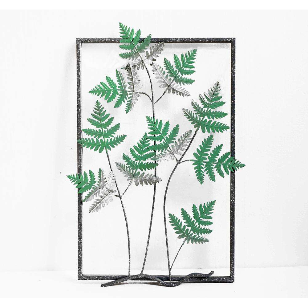 Wholesale wrought garden vintage home metal art green leaves wall mounted accent iron room beauty hangings decor