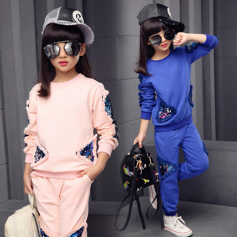 2019 korean 2pcs paillette sports young girls clothing sets for children girls