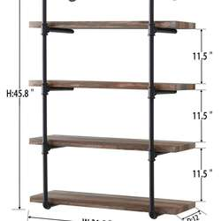 4-Shelf Rustic Pipe Shelving Unit, Metal Decorative Accent W