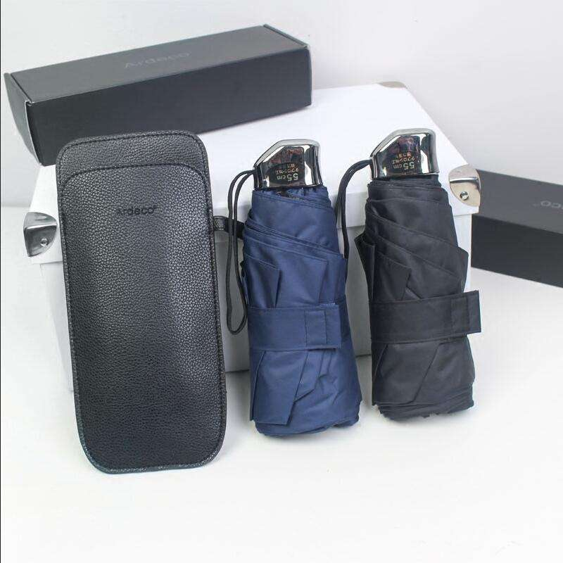 Hot Sale 130cm Double Layer 3 Folding Non-Automatic Business 10K Strong Windproof Rain Male Women,Leather bag