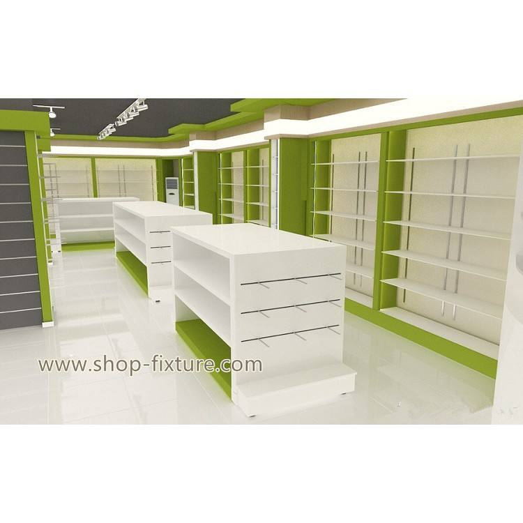 Retail Pharmacy Shop Furniture Interior Design with pharmacy display shelves