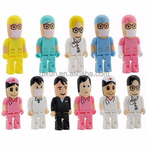 1/32/64/128/256/512MB 1/2/4/8/16/32/64/128GB cartoon character doctor shape promotional gift cheap usb flash drive