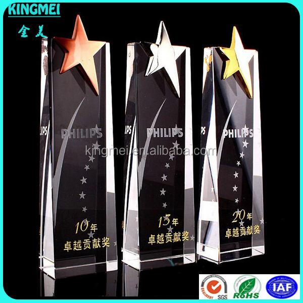 KM-XP46 ile Toptan yeni altın yıldız temizle kristal, shenzhen Mükemmel tasarım kristal trophy