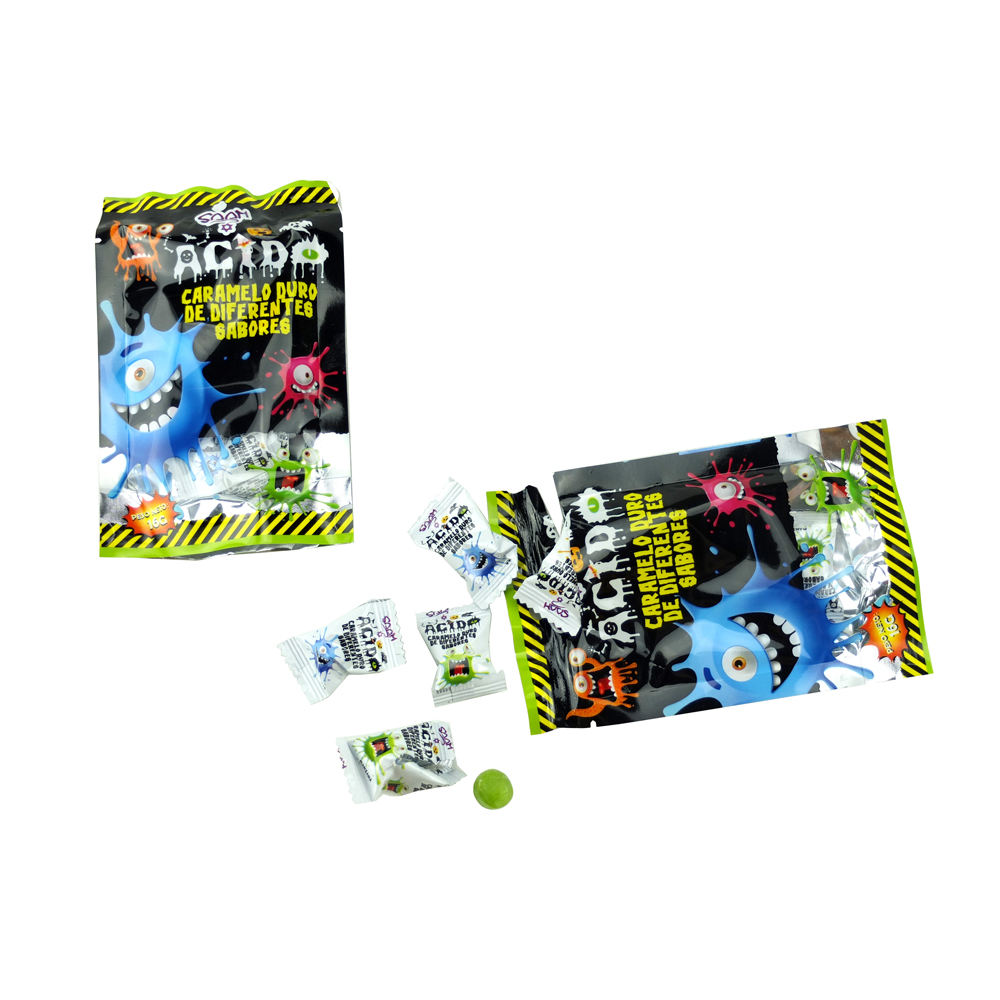 Doos verpakking zuur fruit smaak magic ronde zure pop bonbons hard candy