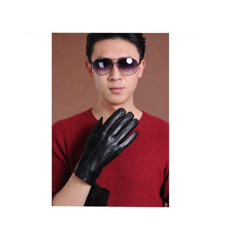 2019 Fashion Design Cabretta Leather Glove Black Man Gloves Factory offer Cheap Price