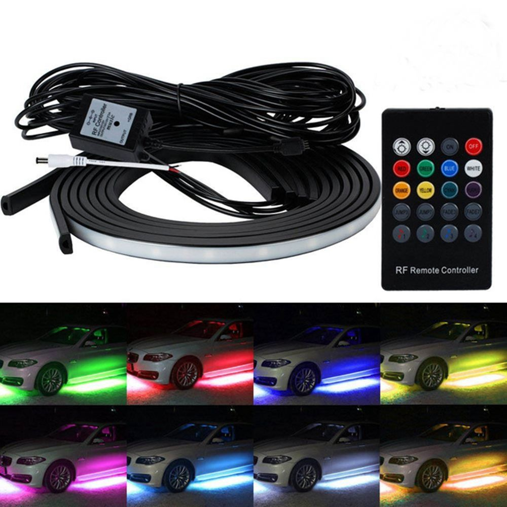 Waterdichte RGB SMD Flexibele LED Strip Onder Auto Buis Underglow <span class=keywords><strong>Underbody</strong></span> System Neon Light Kit Met Afstandsbediening DC12V