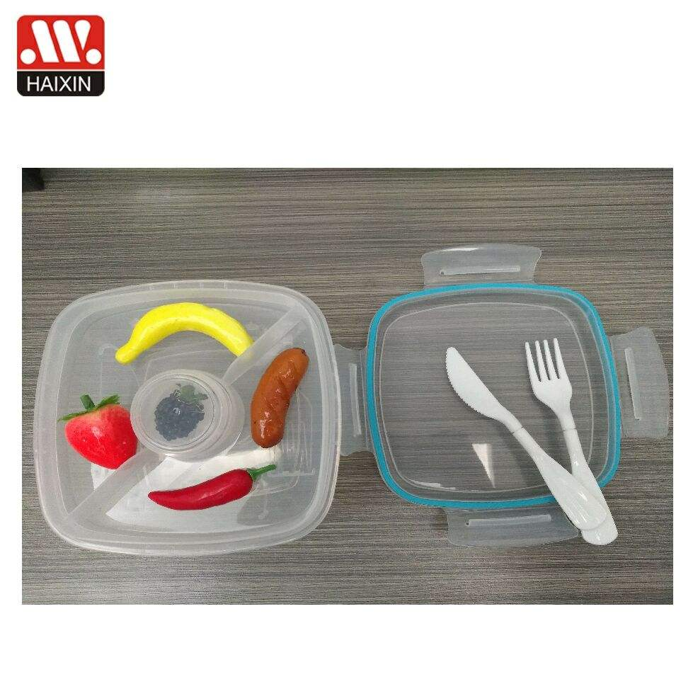 China houseware 0.96L plastic food container leak proof PP storage box set with lid and divider for food