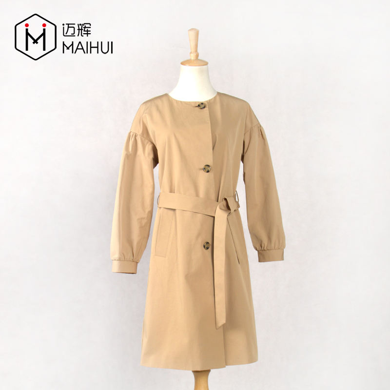 O neck camel cotton fashion water repellent little girl ladies trench coat