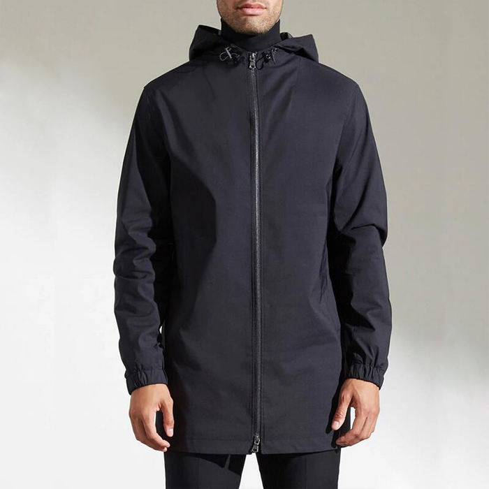 Men's casual hoodie with straight type black hooded parker trench windproof jacket