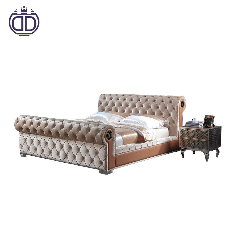 made in china simple tufted fabric modern double bed luxury bedroom furniture light brown king size beds