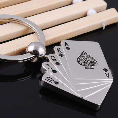 Wholesale Producer Custom Creative Souvenir Metal Enamel Poker Shaped Keychain