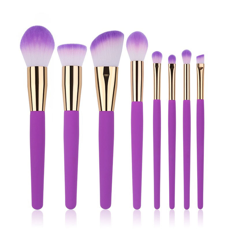 Shiny Purple Color Hotseller On Ebay 8pcs Brushes Makeup Set Cosmetics With Cheap Price Wood Handle Custom Logo