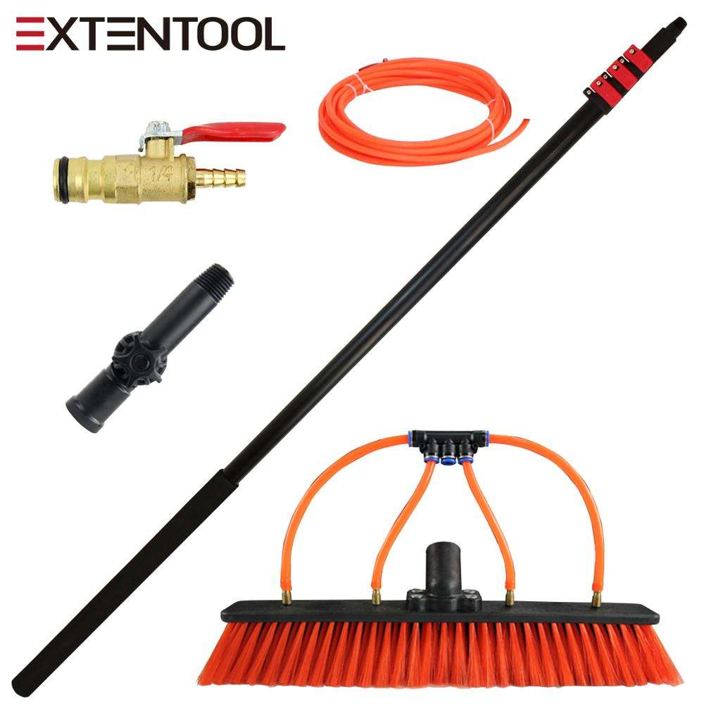 Extentool water fed brush with telescopic pole for window/glass curtain wall washing tools