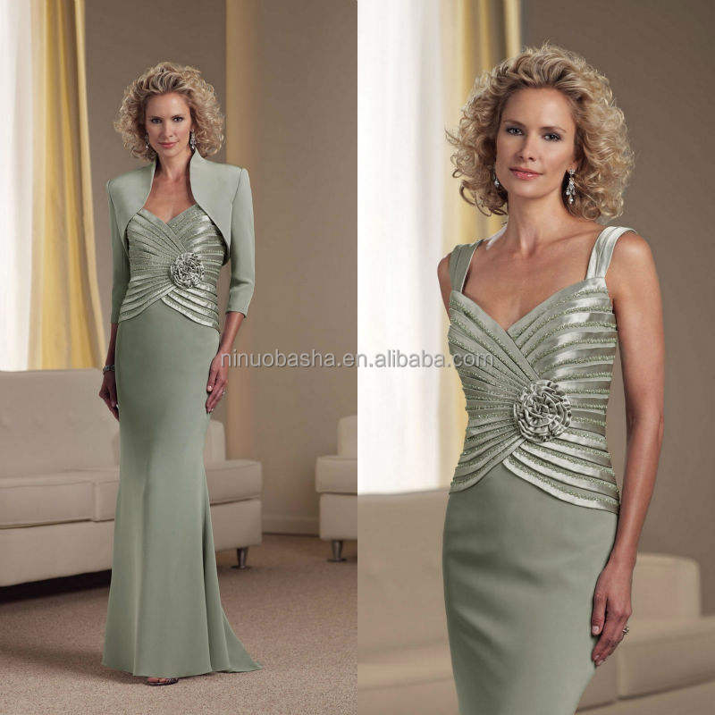 Mermaid Chiffon Spaghetti Straps Beaded Pleated Bodice Mother of the Bride Dress With High Neck 3/4 Sleeve Jacket NB0897