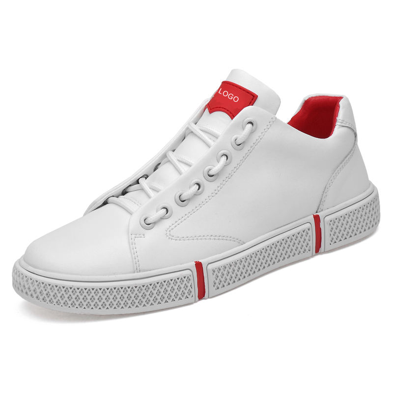 Wholesale fashion white leather casual sneaker shoe oem high top logo custom sneakers for men