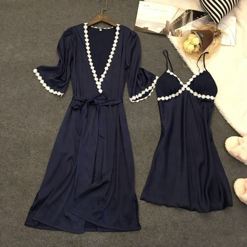 Two-piece Satin Pajamas Set Soft Robe and Sleeping Dress Silk Lace Trim Sleepwear