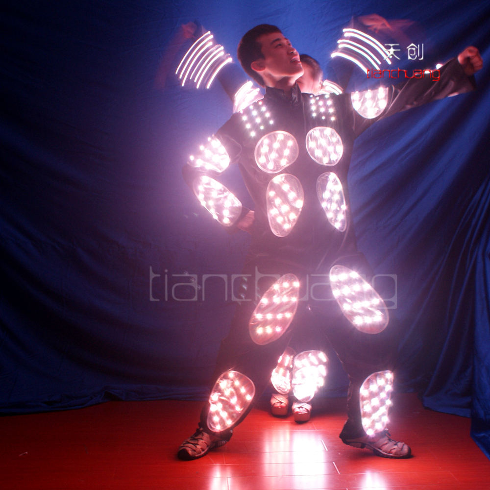 Pixels LED Tron dance costumes, Wireless controlled Full color LED costumes