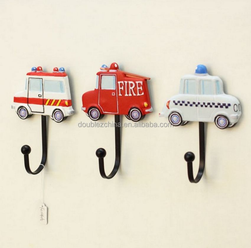 Resin Creative Kids Room Toy Car Design Wall Hook Decorative Coat Bag Wall Hooks