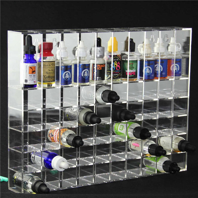Customized transparent wall hang large display rack for 30ml e-juice e liquid bottles tray