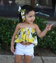Children Clothing Baby Girl Summer Clothes A word shoulder kids Clothing Wholesale children's wear factory outlet 3pcs