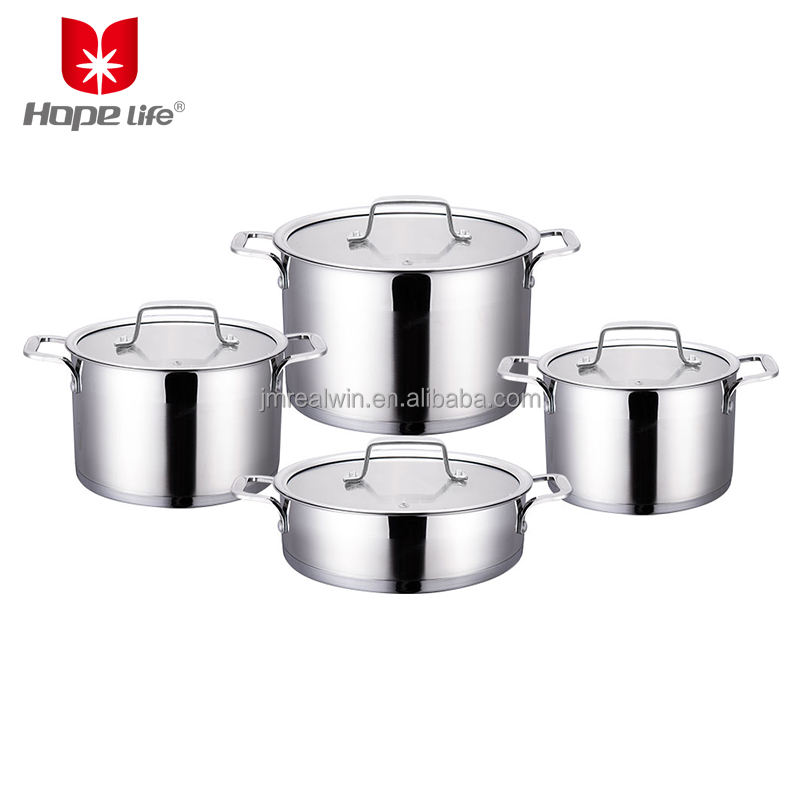 Stainless cookware 16/18/20/24cm straight shape 8 pcs cookware set