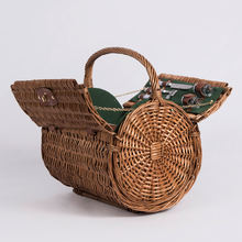 Good cheap brown colored junket food fruit storage hamper handbag round willow rattan wicker picnic basket with handles