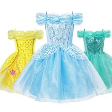 Summer Princess Dress Girl Sleeping Beauty Belle Cinderella Jasmine Fancy Costume Children Aurora Birthday Party Clothes