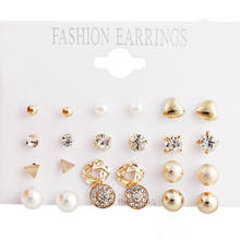Vintage Punk alloy Earrings For Women Hot Sale pearl Ear Studs Silver Plating Earring Set Mixed