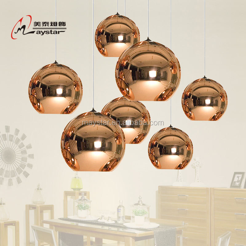Glass Global Round Ball Pendant Light TomDixon Hanging Ball Pendant Lamp Gold/Chrome/Rose Gold Color