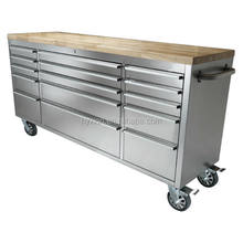 72 inch Stainless Steel 15 Drawers Mobile Toolbox With Wheels For Garage Tools Storage